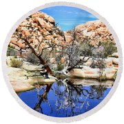 Trees In The Barker Dam Round Beach Towel