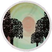 Trees Of Light Round Beach Towel