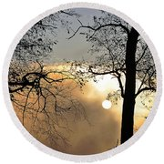 Trees On Misty Morning Round Beach Towel