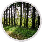 Trees On The Shannon Estuary Round Beach Towel