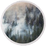 Beaver Fire Trees Swimming In Smoke Round Beach Towel by Bill Gabbert
