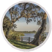 Round Beach Towel featuring the photograph Trees With A View by Jane Luxton
