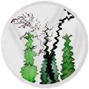 Abstract Christmas Tree Round Beach Towel