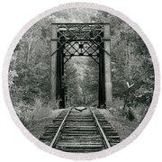 Trestle Bridge Over Railroad Track Round Beach Towel
