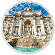 Trevi Fountain - Rome Round Beach Towel by Luciano Mortula