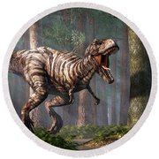 Trex In The Forest Round Beach Towel