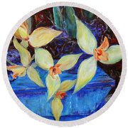 Round Beach Towel featuring the painting Triangular Blossom by Xueling Zou