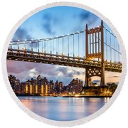 Triboro Bridge At Dusk Round Beach Towel by Mihai Andritoiu