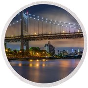 Triboro Bridge Round Beach Towel by Mihai Andritoiu