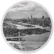 Triborough Bridge Is Completed Round Beach Towel by Underwood Archives