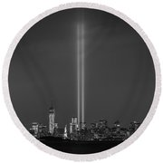 Tribute Lights Bw Round Beach Towel