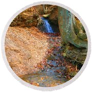 Trickling Waterfall By Shellhammer Round Beach Towel
