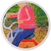 Round Beach Towel featuring the painting Tricycle by Donald J Ryker III