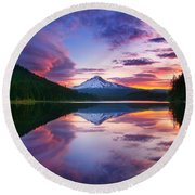 Trillium Lake Sunrise Round Beach Towel
