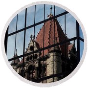 Trinity Chruch Reflected Round Beach Towel by Kenny Glotfelty