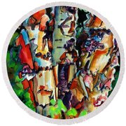 Round Beach Towel featuring the painting Trio Birch 2014 by Kathy Braud