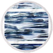 Round Beach Towel featuring the photograph Trio In Blue by Wendy Wilton