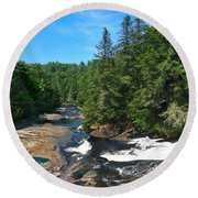 Triple Falls North Carolina Round Beach Towel