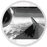Round Beach Towel featuring the photograph Red White Black An White Blue An White Jet Pop Art Planes. by R Muirhead Art