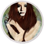 Tristesse Round Beach Towel by Galen Valle