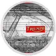 Triumph B W Round Beach Towel