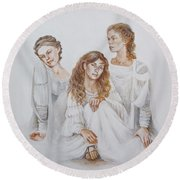 Round Beach Towel featuring the painting Trois by Marina Gnetetsky
