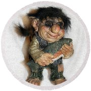 Round Beach Towel featuring the sculpture Troll Fisherman by Sergey Lukashin