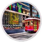 Trolley Time Round Beach Towel