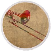 Trombone Brass Instrument Watercolor Portrait On Worn Canvas Round Beach Towel