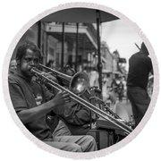 Trombone In New Orleans 2 Round Beach Towel