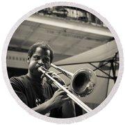 Trombone In New Orleans Round Beach Towel