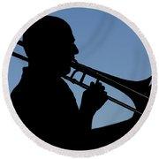 Trombone Player Round Beach Towel
