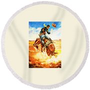 Trooper On A Skiddish Mount Round Beach Towel