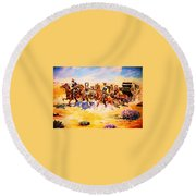 Troopers Stopping A Runaway Coach Round Beach Towel