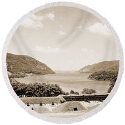 Trophy Point North Fro West Point In Sepia Tone Round Beach Towel