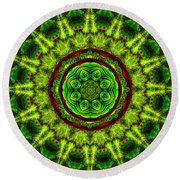 Tropic Leaf Pattern Mandala Round Beach Towel