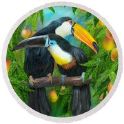 Tropic Spirits - Toucans Round Beach Towel by Carol Cavalaris