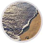 Tropical Beach With Footprints Round Beach Towel