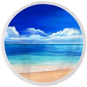 Round Beach Towel featuring the drawing Tropical Blue by Anthony Fishburne