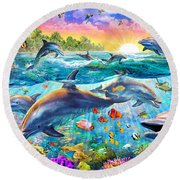 Tropical Dolphins Round Beach Towel