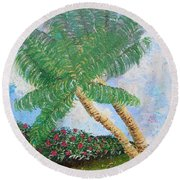 Round Beach Towel featuring the painting Tropical Flair by Margaret Bobb