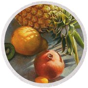 Tropical Fruit Round Beach Towel