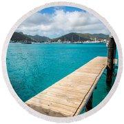 Tropical Harbor Round Beach Towel