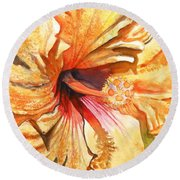 Tropical Hibiscus 3 Round Beach Towel