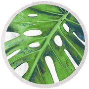 Tropical Leaf With Blue I Round Beach Towel