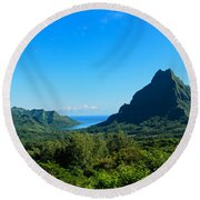 Tropical Moorea Panorama Round Beach Towel