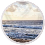 Round Beach Towel featuring the photograph Tropical Morning  by Roselynne Broussard