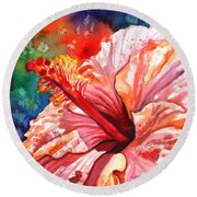 Tropical Pink Hibiscus Round Beach Towel
