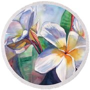 Tropical Plumeria Flowers Round Beach Towel