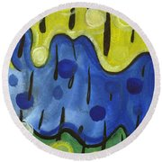 Round Beach Towel featuring the painting Tropical Rain by Stephen Lucas